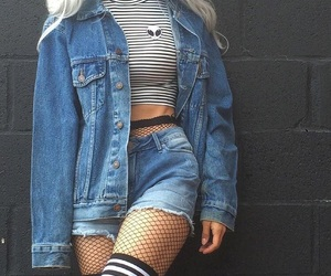 fish nets, jean jacket, and alien shirt image
