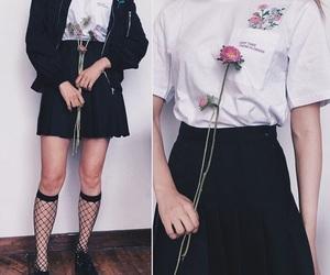 flower, aesthetic style, and fish net socks image