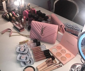 makeup, pink, and bag image