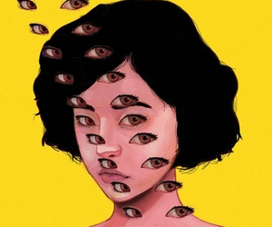 eyes, art, and yellow image