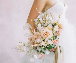 bouquet, bride, and happiness image