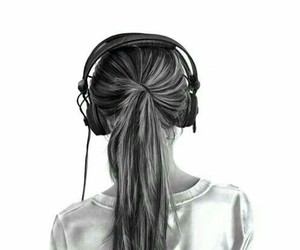 music, girl, and drawing image