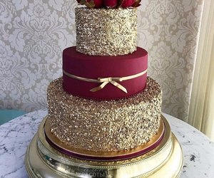 cake, gold, and love image