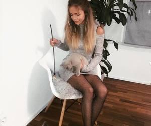 cat, pretty girls, and dress image
