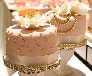 cake, flower, and gold image