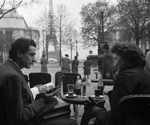 paris, couple, and black and white image