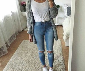 girls, jeans, and outfit image