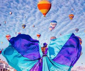 blue purple dress and redhead hot air balloons image