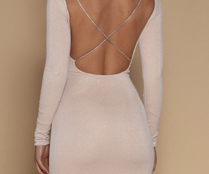 open back, party dress, and light beige image