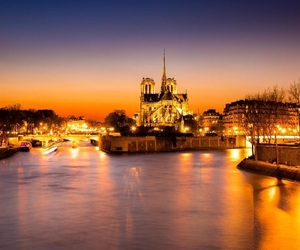 boat, paris, and sunset image