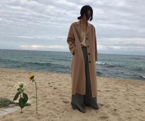 beige, coat, and sea image