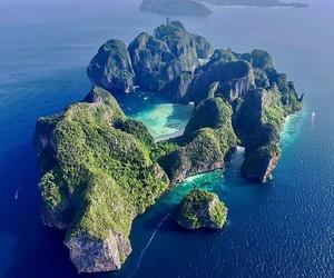 beach, blue, and cliffs image