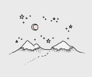 art, moon, and mountain image