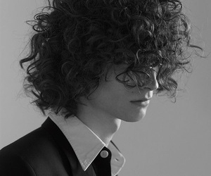 b&w, boys, and curly image