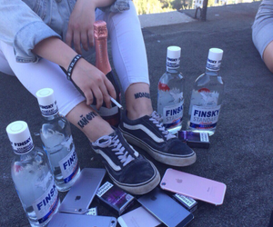 cigarette, alcohol, and girl image
