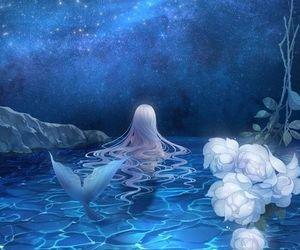 mermaid, anime, and water image