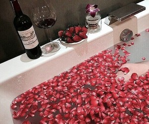 bath, rose, and strawberry image