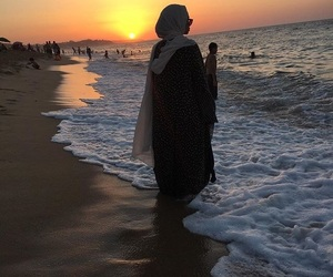 breathe, hijab, and ocean image
