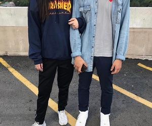 couple, outfits, and friends image