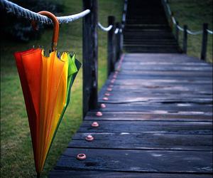 umbrella, rainbow, and rain image