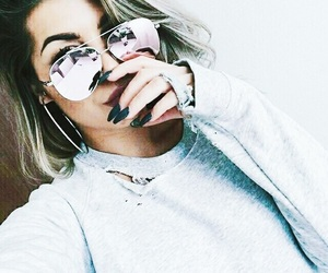 girl, nails, and sunglasses image