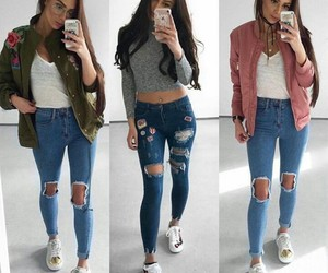 outfits, ripped jeans, and shoes image