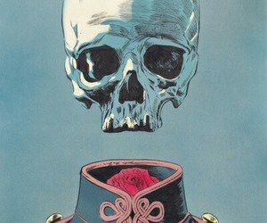 skull, art, and rose image