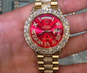watch, diamonds, and gold image