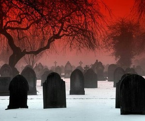 cementery, red, and gravestones image