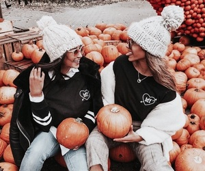 friends, girl, and pumpkin image