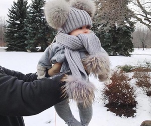cute, baby, and snow image