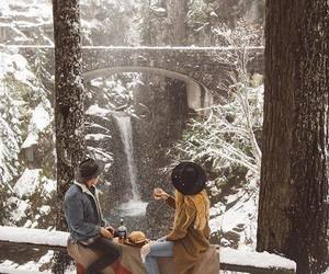 couple, in love, and snow image