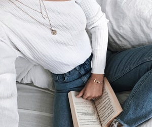 book, denim, and pages image