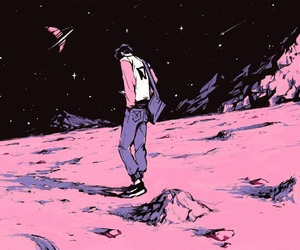 space, pink, and art image