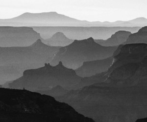 black and white, mountains, and photography image