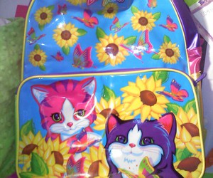 backpack, kittens, and lisa frank image