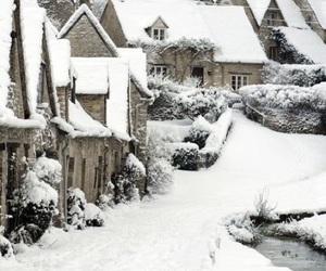 snow, christmas, and village image