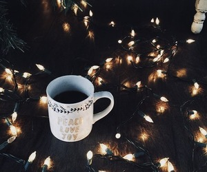 winter, coffee, and lights image