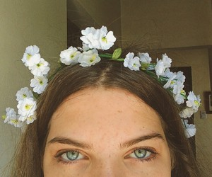blue eyes, flowers, and eyes image