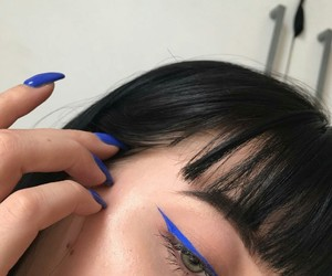 blue, nails, and eyeliner image