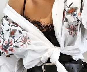 blouse, floral, and girl image