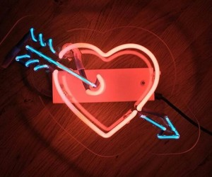 heart, neon lights, and red image