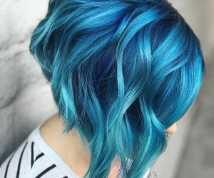Bleu, blue, and cheveux image