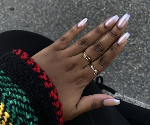 nails, simple nails, and coffin nails image
