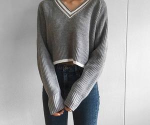fashion, gray, and v neck image