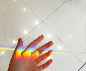 hand, rainbow, and black image