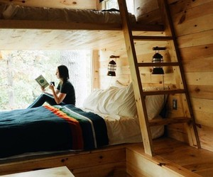 bed, bedroom, and cabin image