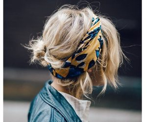 girl, hairstyles, and scarves image