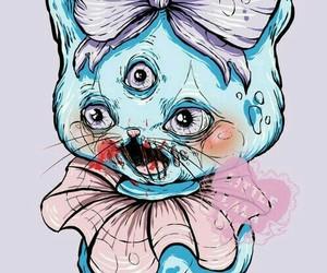 gato, ilustraciones, and zombie image
