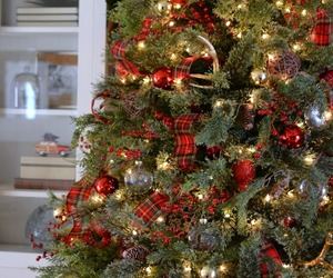 christmas, tartan, and tree image